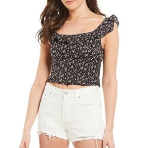 Nwot Free People black floral crop top Xs new